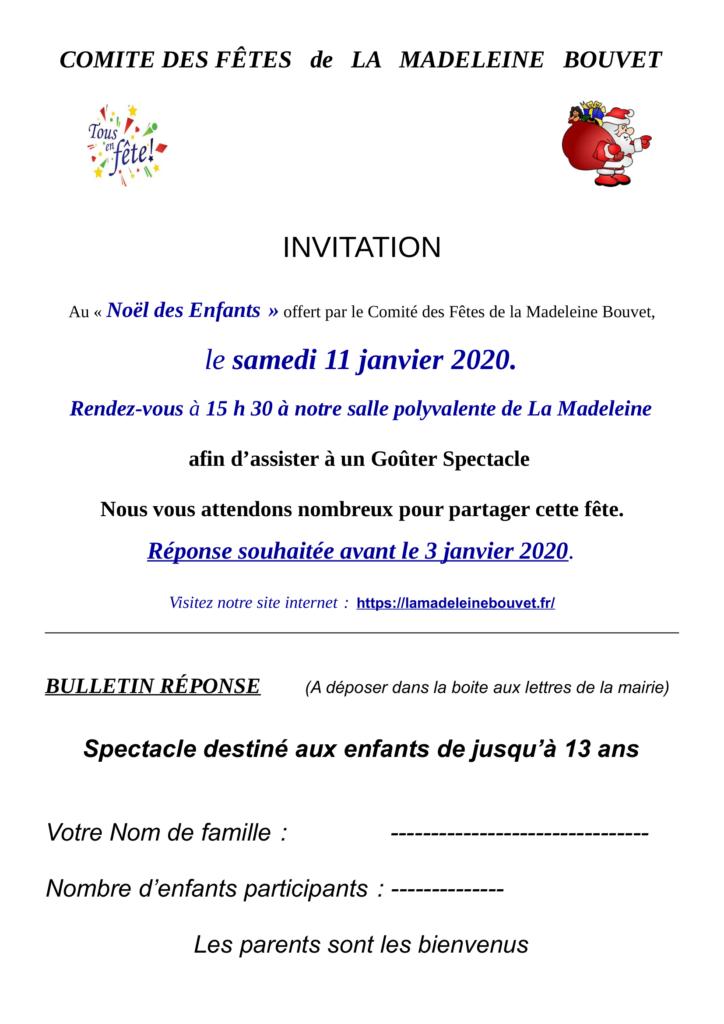 Noël des petits enfants de La Madeleine Bouvet